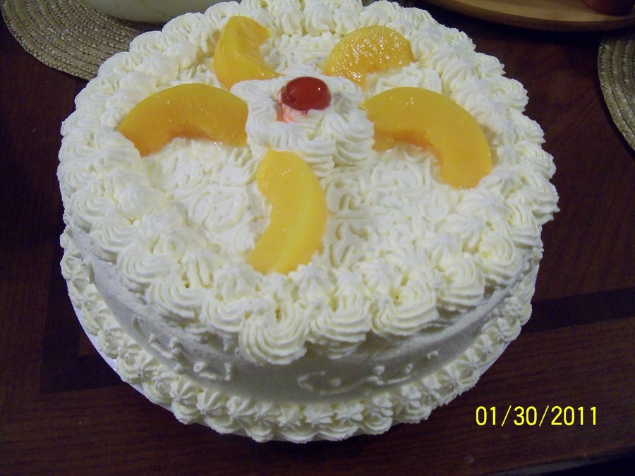 Peaches N Cream Cake on Cake Central