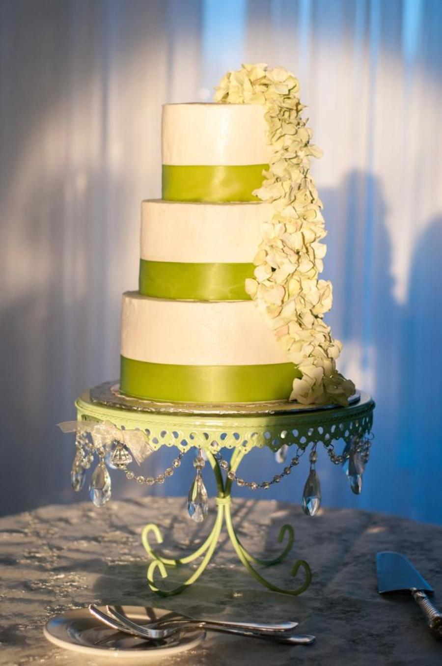 Buttercream Wedding Cake With Ribbon And Hydrangea Flowers ...