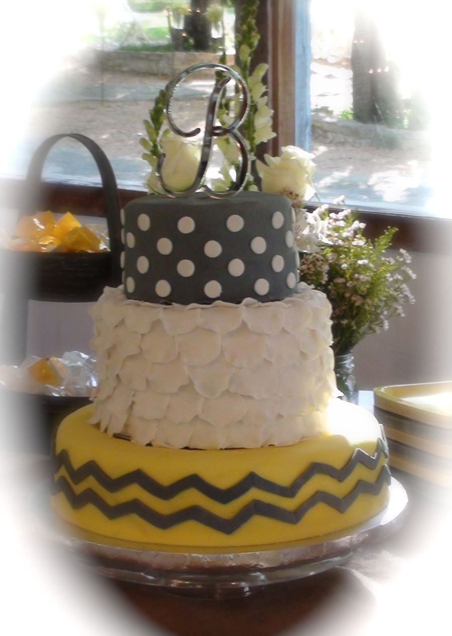Yellow And Grey Chevron on Cake Central