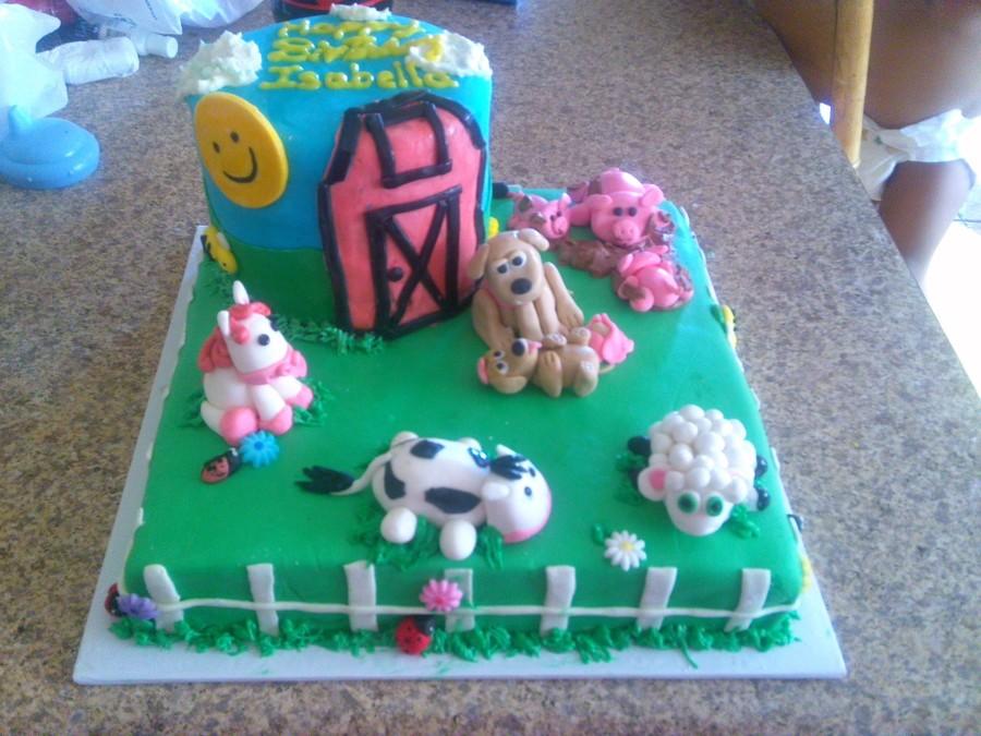 Remarkable Barn Yard Birthday Cake Cakecentral Com Personalised Birthday Cards Veneteletsinfo