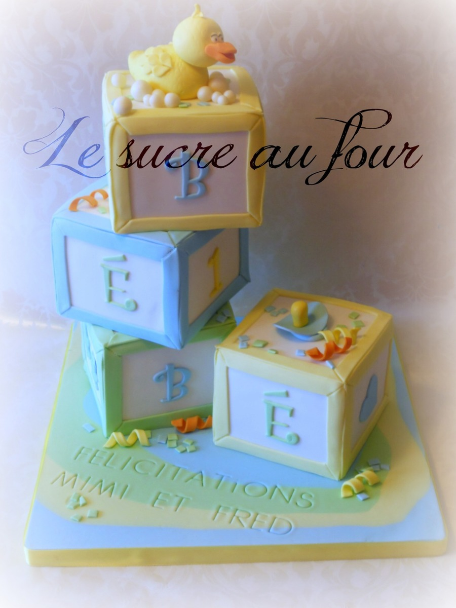 Baby Cube Cake Yellow Duck Pacifier And Confetti Made Of Gumpaste Tfl on Cake Central