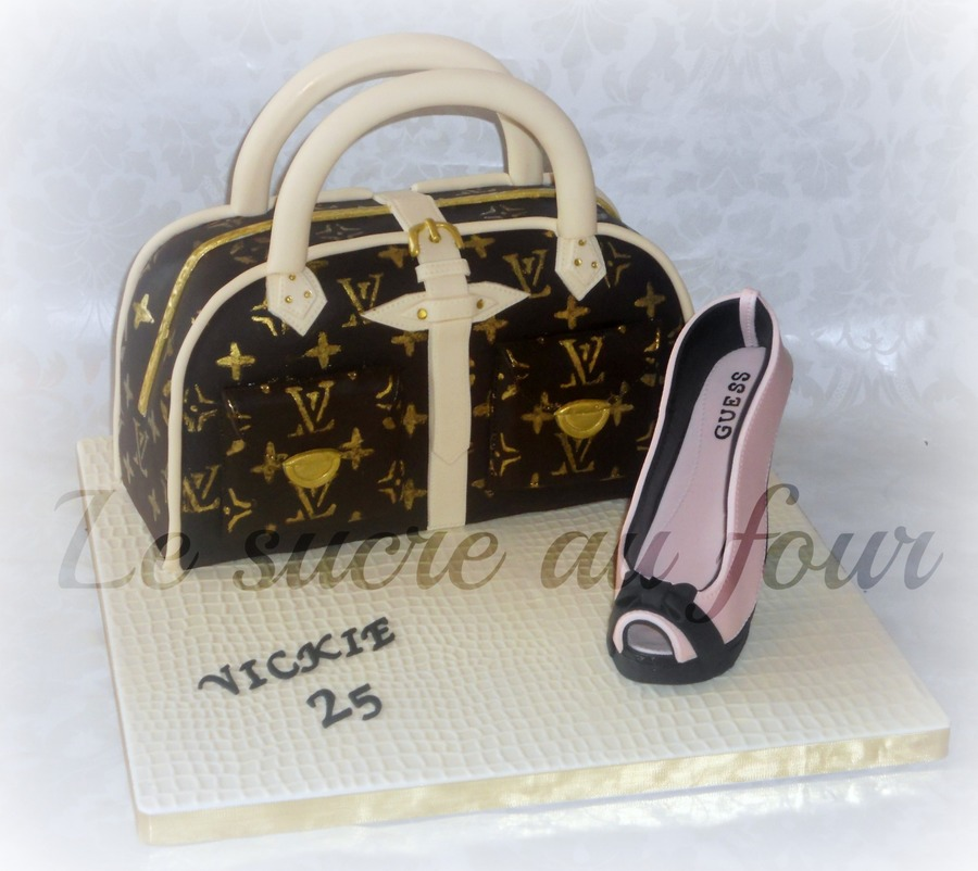 Louis Vuitton Purse Cake And A Guess Gumpaste Shoe  on Cake Central