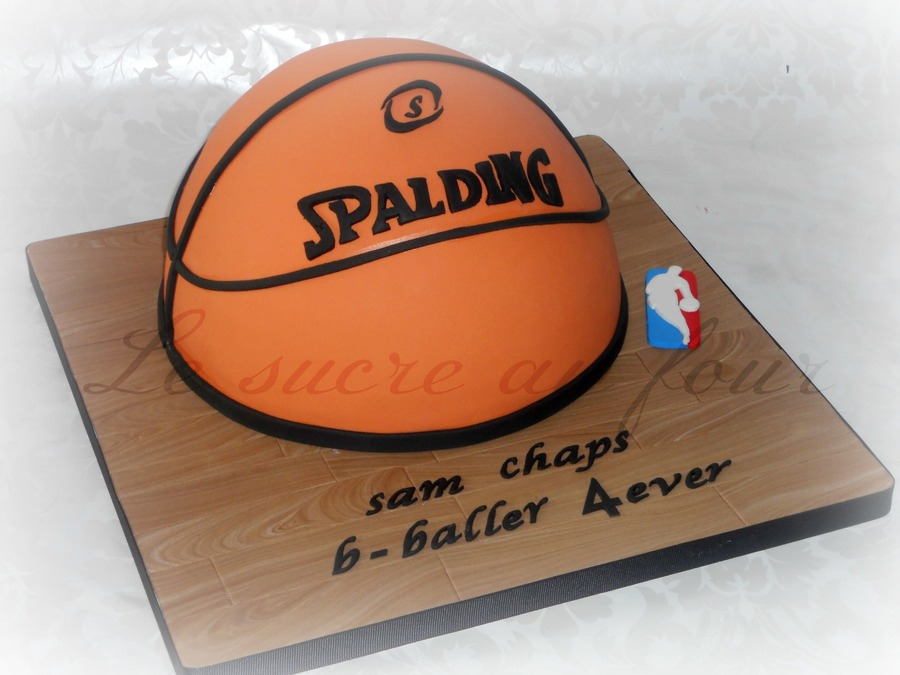 Spalding Basketball Cake The Wood Effect Is Made Out Of Fondant on Cake Central