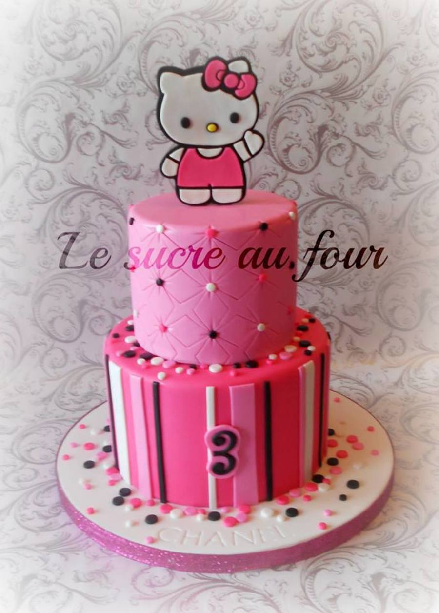 Hello Kitty Cake The Cake Topper Was Cut By Hand CakeCentralcom