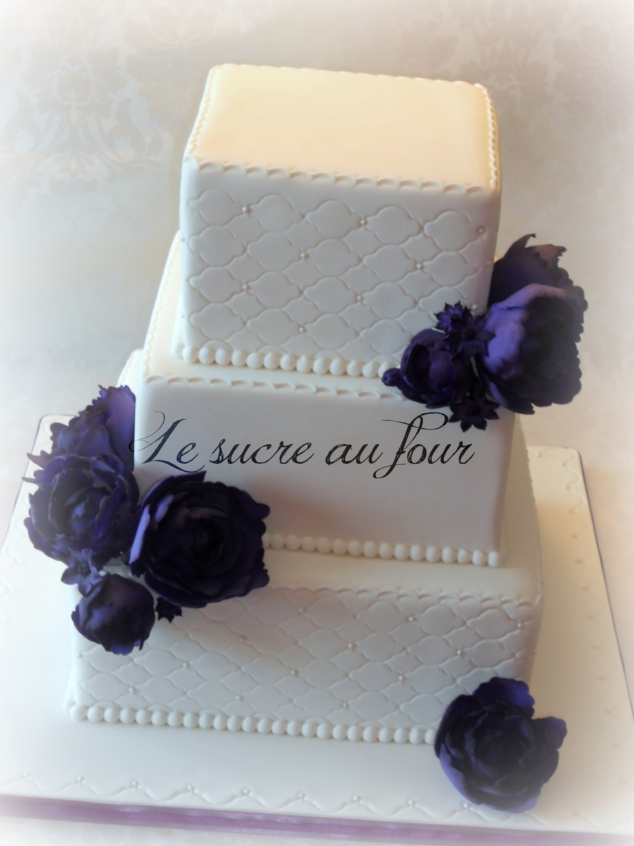 Purple Peony Wedding Cake on Cake Central