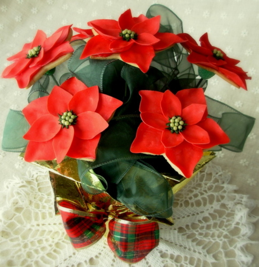 Poinsettia Cookie Bouquet on Cake Central