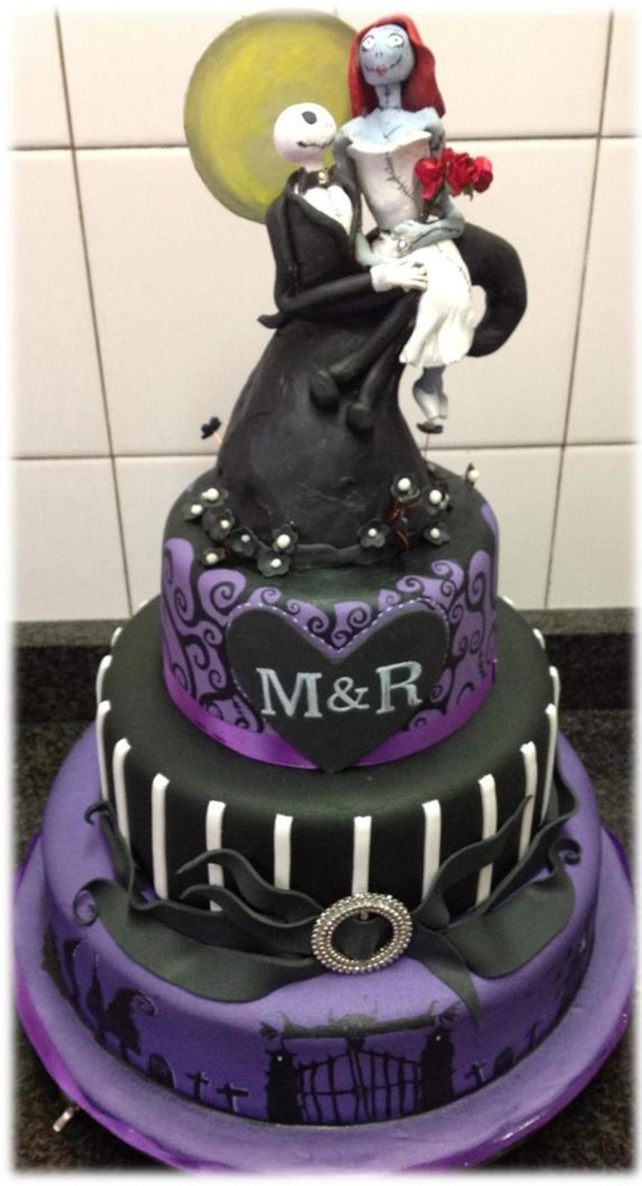 this was a wedding cake for a couple who wanted a nightmare before christmas theme and