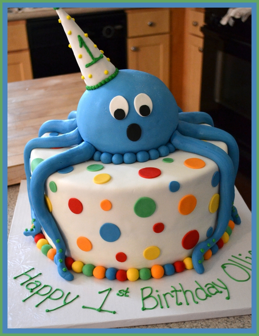 Ollie's 1St Birthday Octopus Cake on Cake Central
