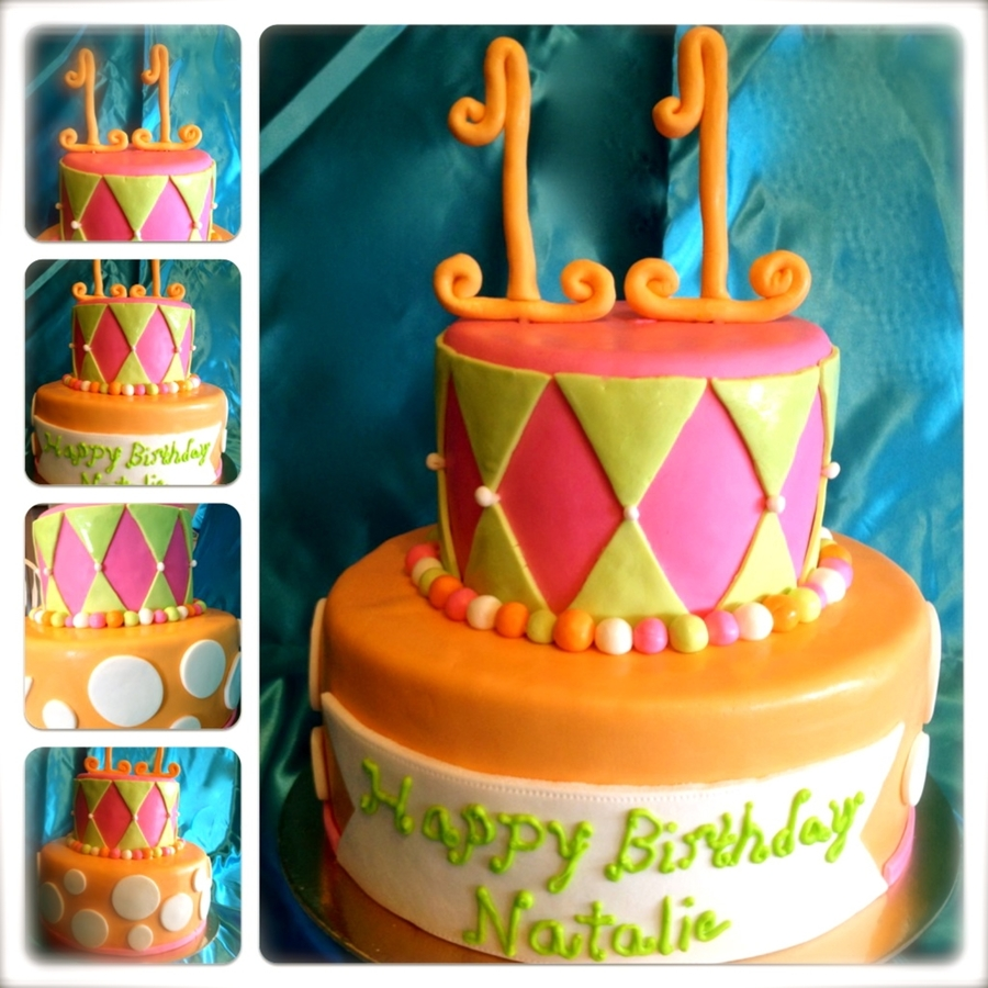 Bright 2 Tiered Cake on Cake Central