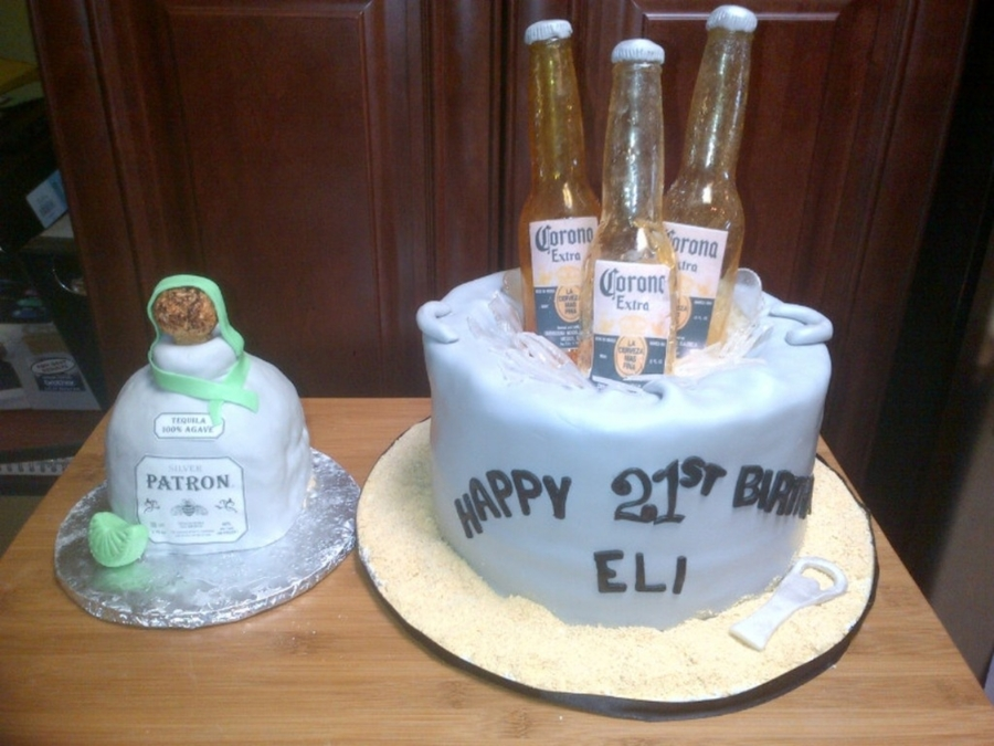 Patron Bottle And Corona Bucket on Cake Central