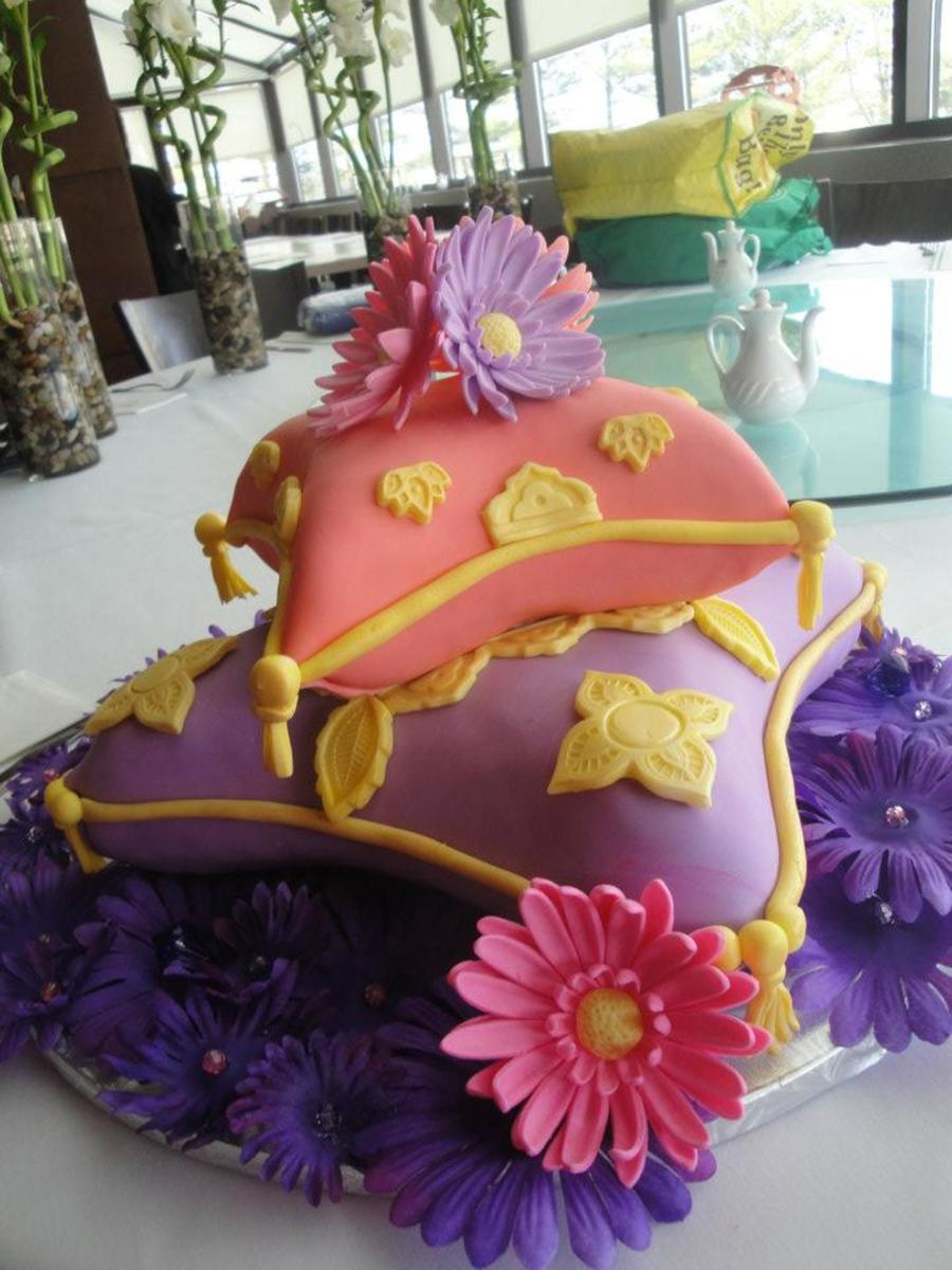 moroccan themed bridal shower pillow cakes covered in fondant on cake central