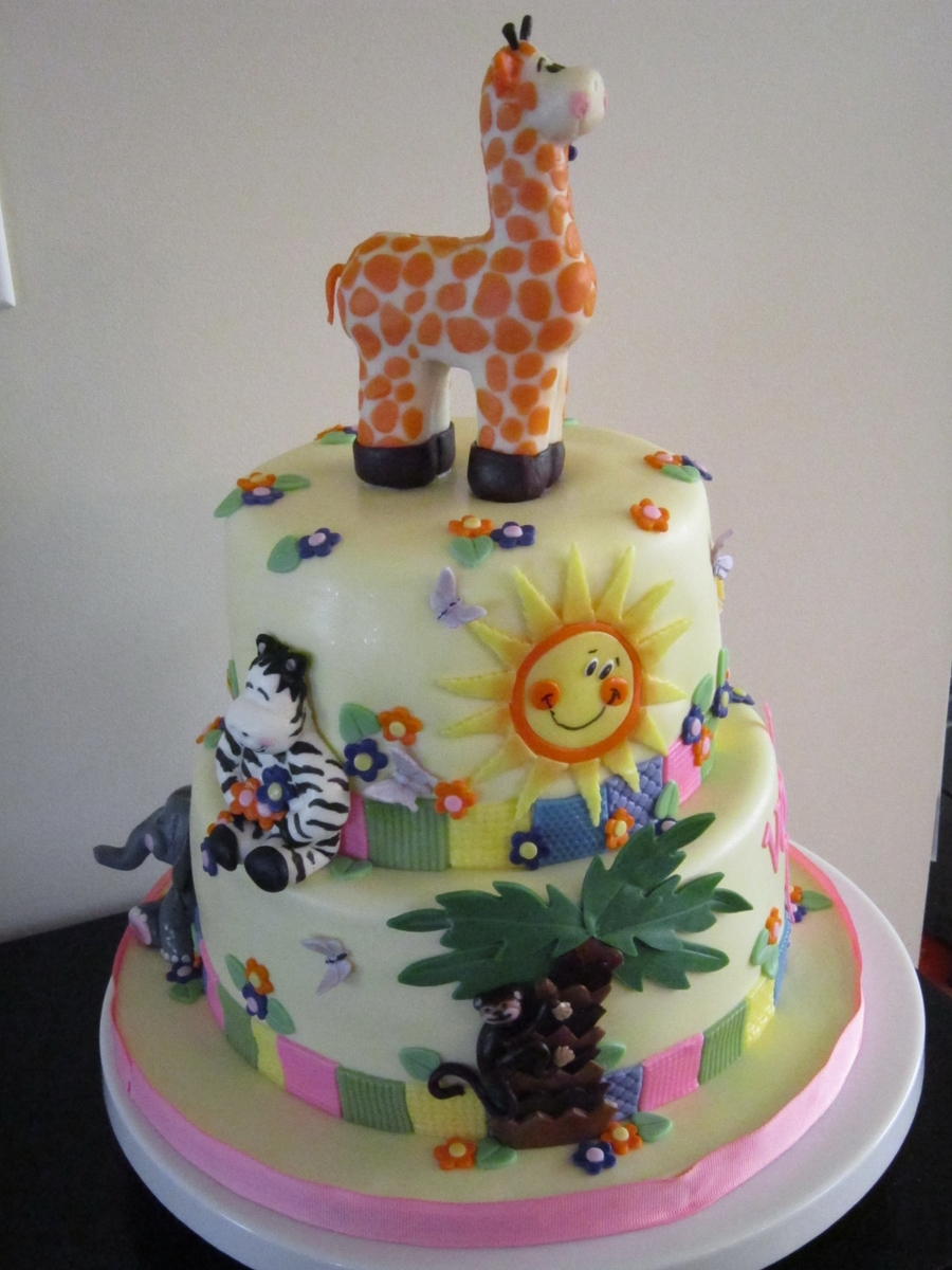 Baby Shower Zoo Cakes ~ Zoo animal baby shower cake cakecentral