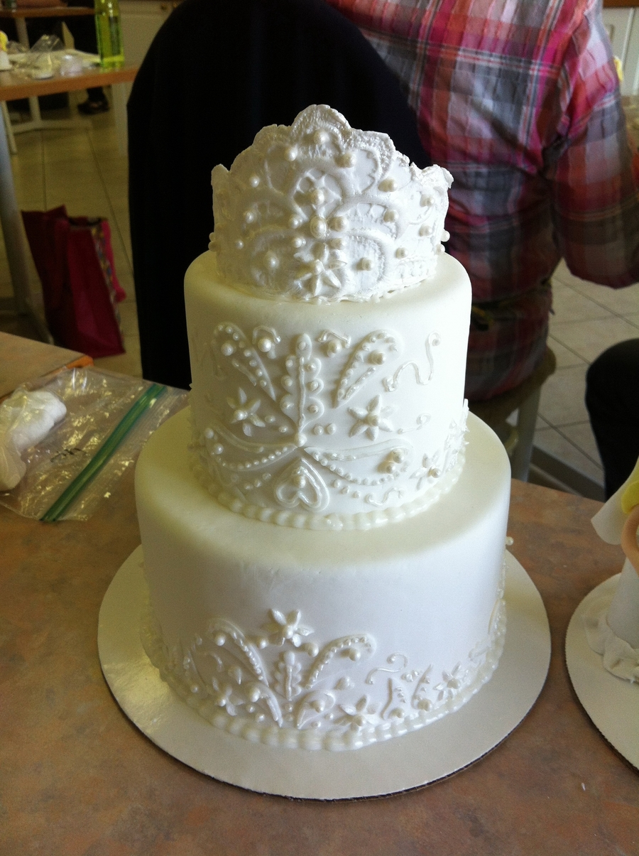 Zari Embroidery Wedding Cake on Cake Central