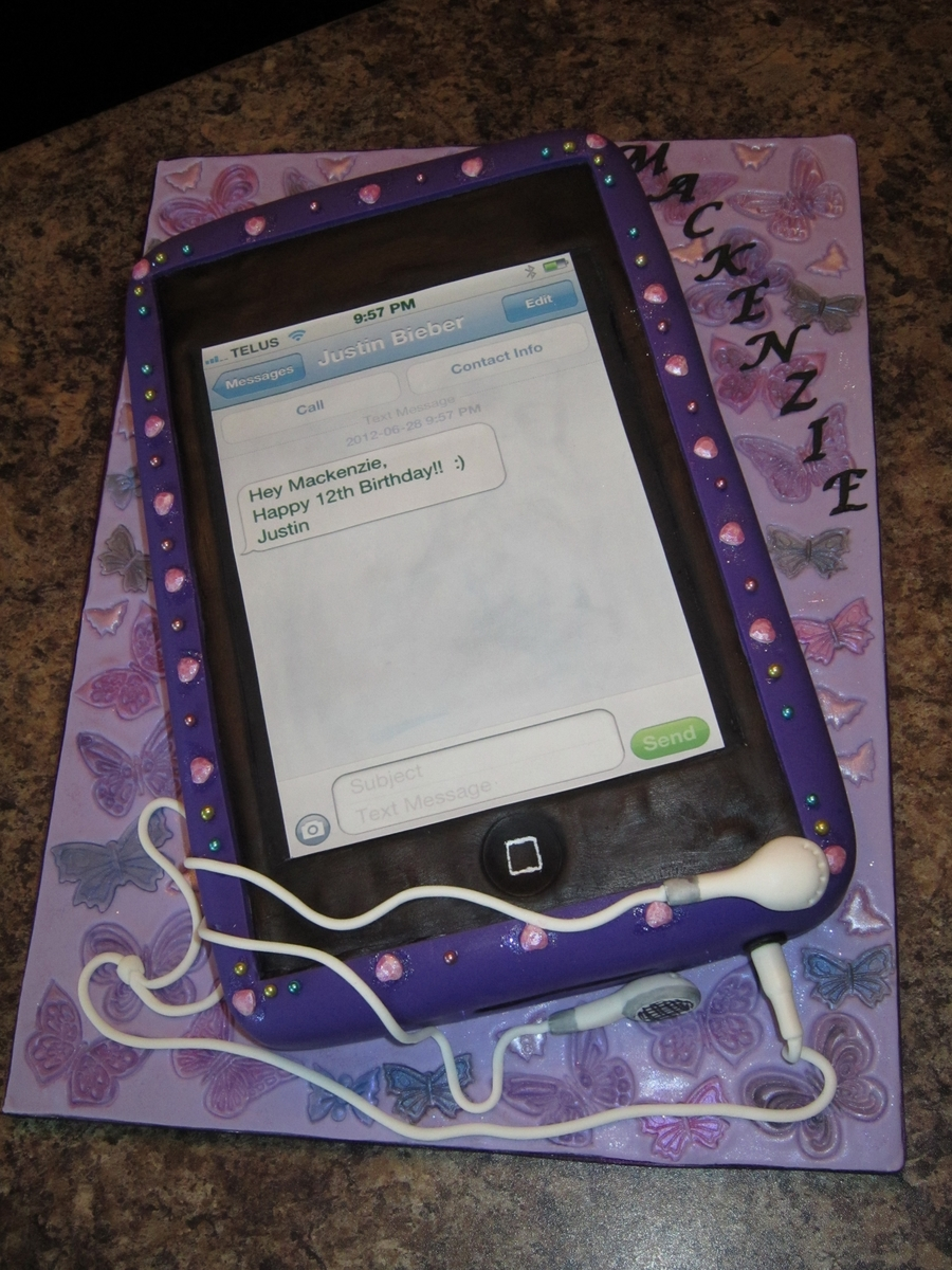 Ipod Touch Cake With Justin Bieber Text Message Cakecentral