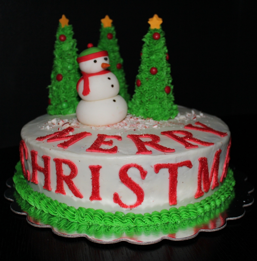 Snowman In The Christmas Forest. on Cake Central