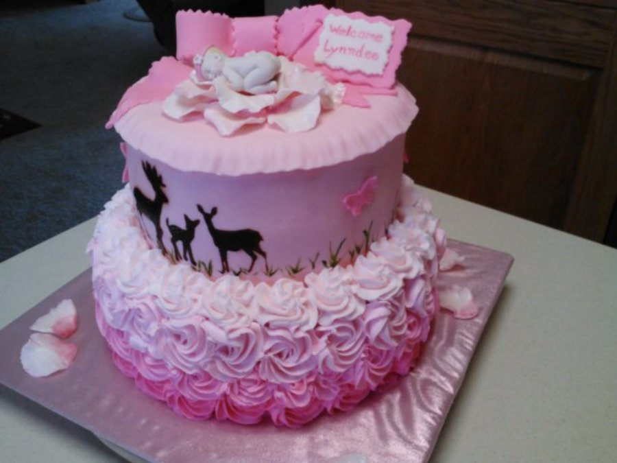 fondant baby shower cake with air brushed deer family and fondant baby