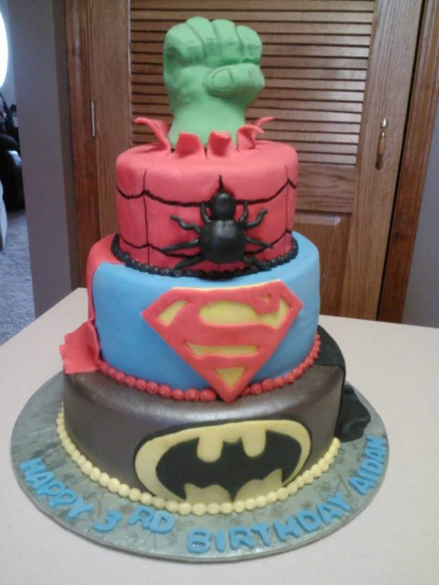 Spiderman Batman Superman And Hulk Fondant Cake