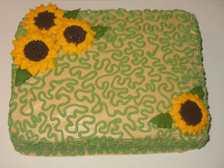 Cornelli Lace With Royal Icing Sunflowers  on Cake Central