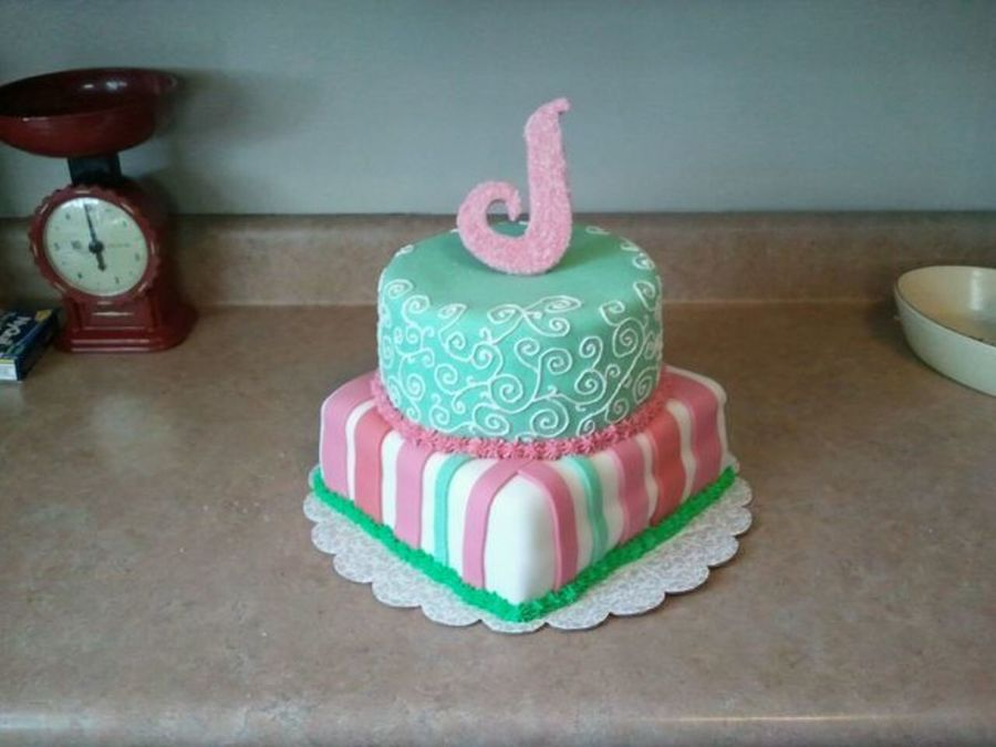 Green & Pink Baby Shower Cake on Cake Central