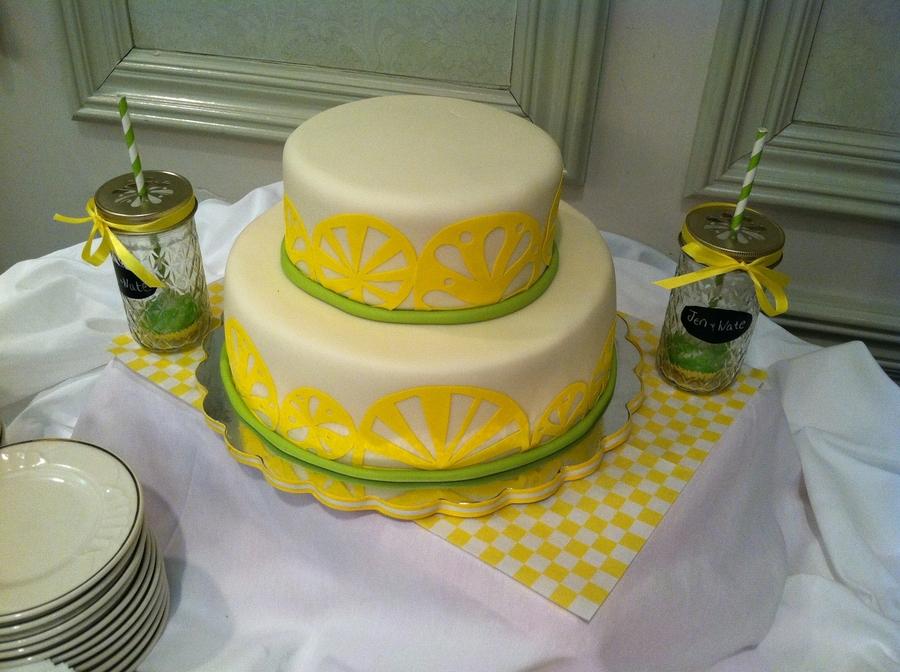 Lemon Lime Themed Bridal Shower Cake - CakeCentral.com