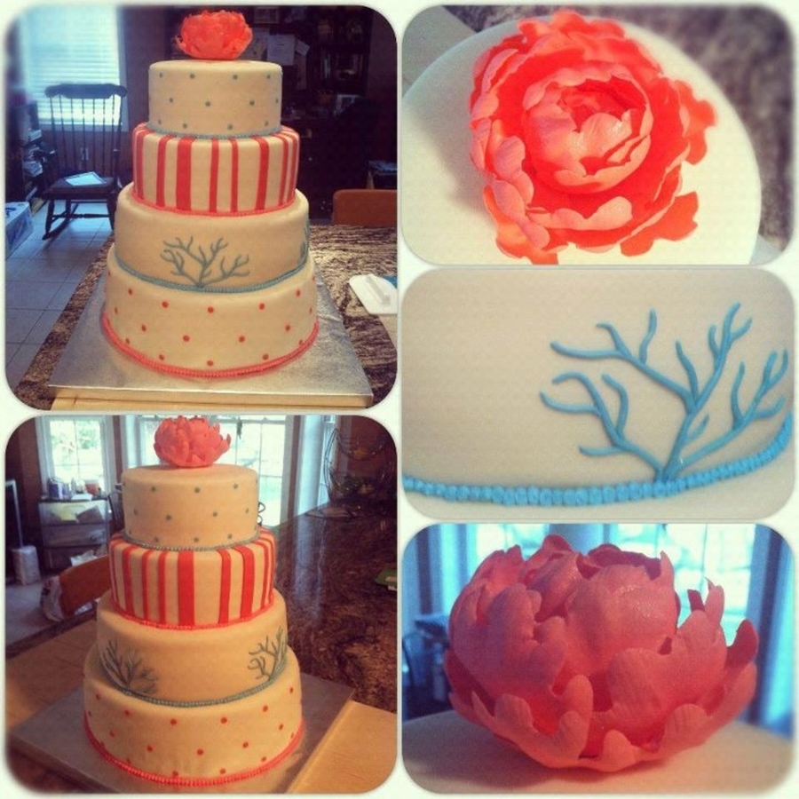 Coral And Turquoise Wedding on Cake Central