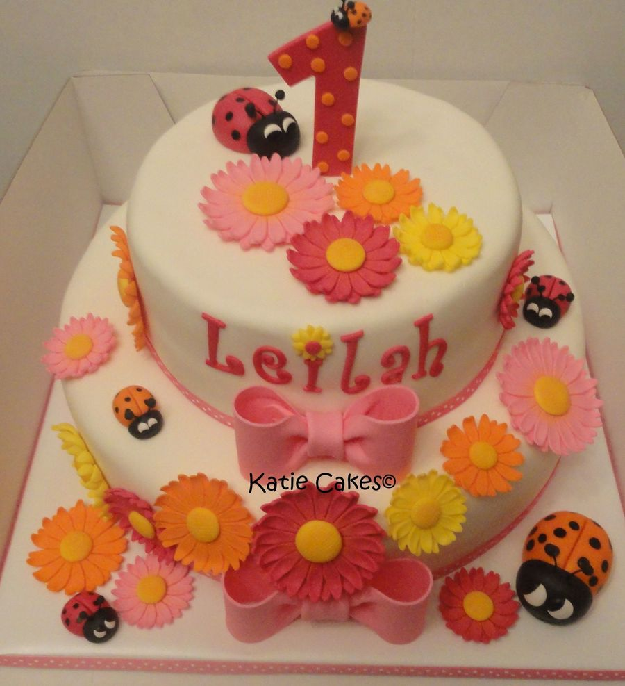 Daisy And Ladybugs First Birthday Cake Cakecentral