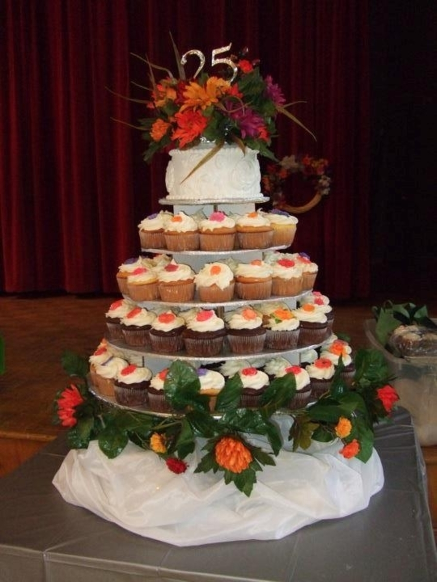 Cupcake Tower 25Th Anniversary on Cake Central