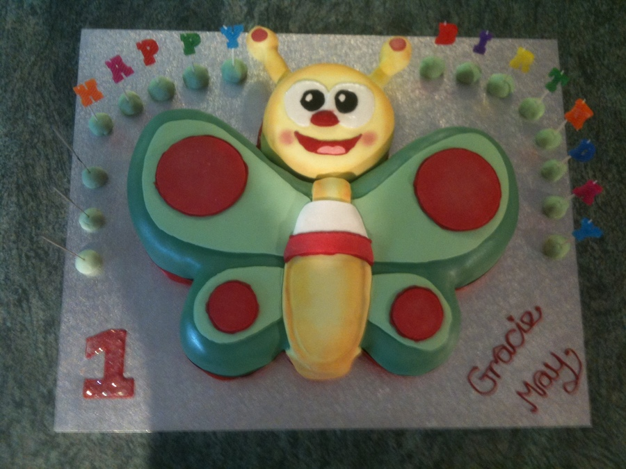 Baby Tv Butterfly Birthday Cake CakeCentralcom