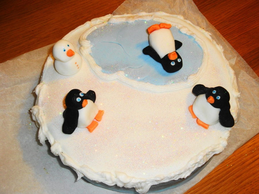 Penguin Pond Snowy Christmas Cake on Cake Central
