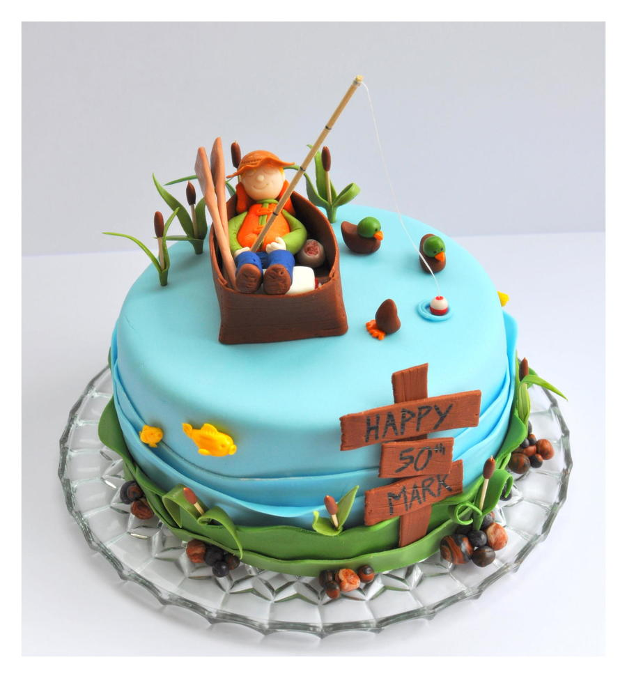 fishing cake with fisherman fish ducks cattails