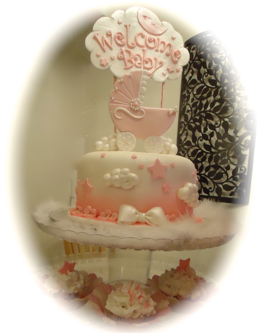 Pink Baby Carriage Cake  on Cake Central