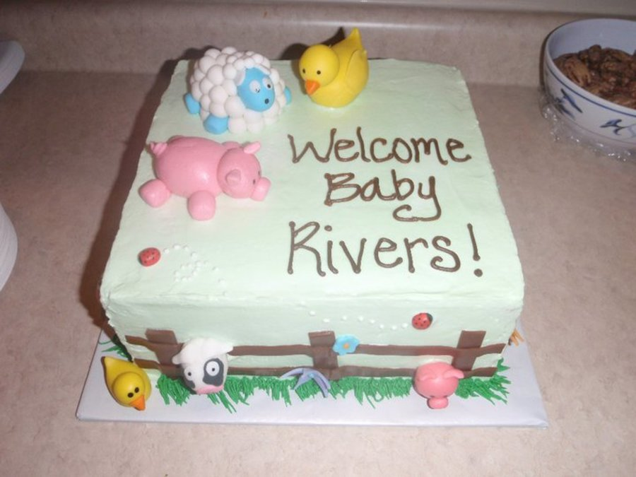 Baby Showers Cakes ~ Farm animal baby shower cake cakecentral