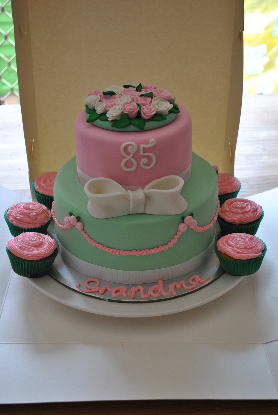 85Th Pink Green And Rose Birthday Cake On Central