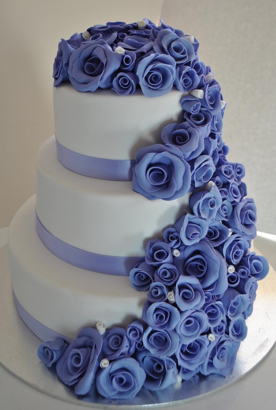 Purple Mauve Wedding Cake With Handmade Roses