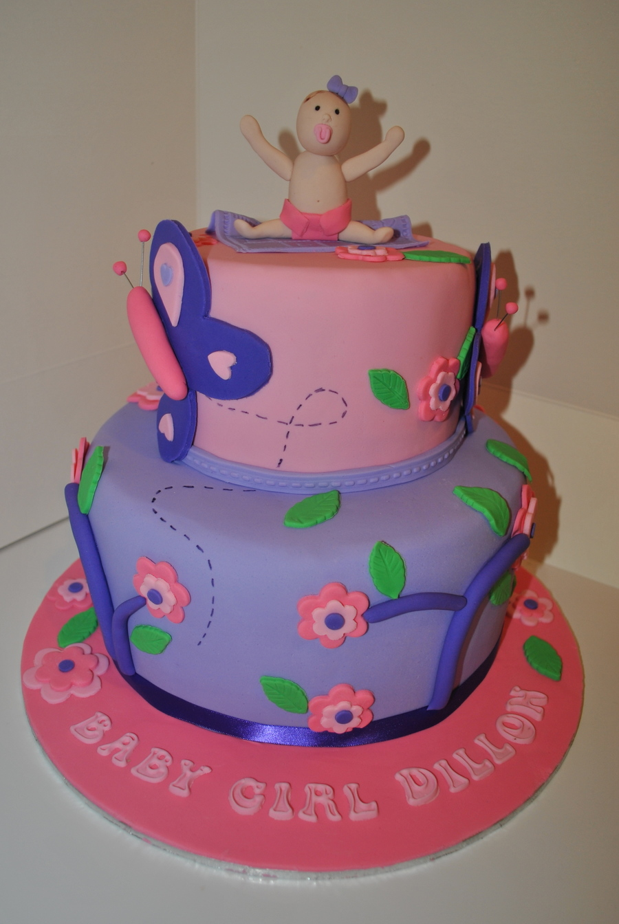 Baby Girl Baby Shower Cake Pink Purple Flower Butterfly -8509