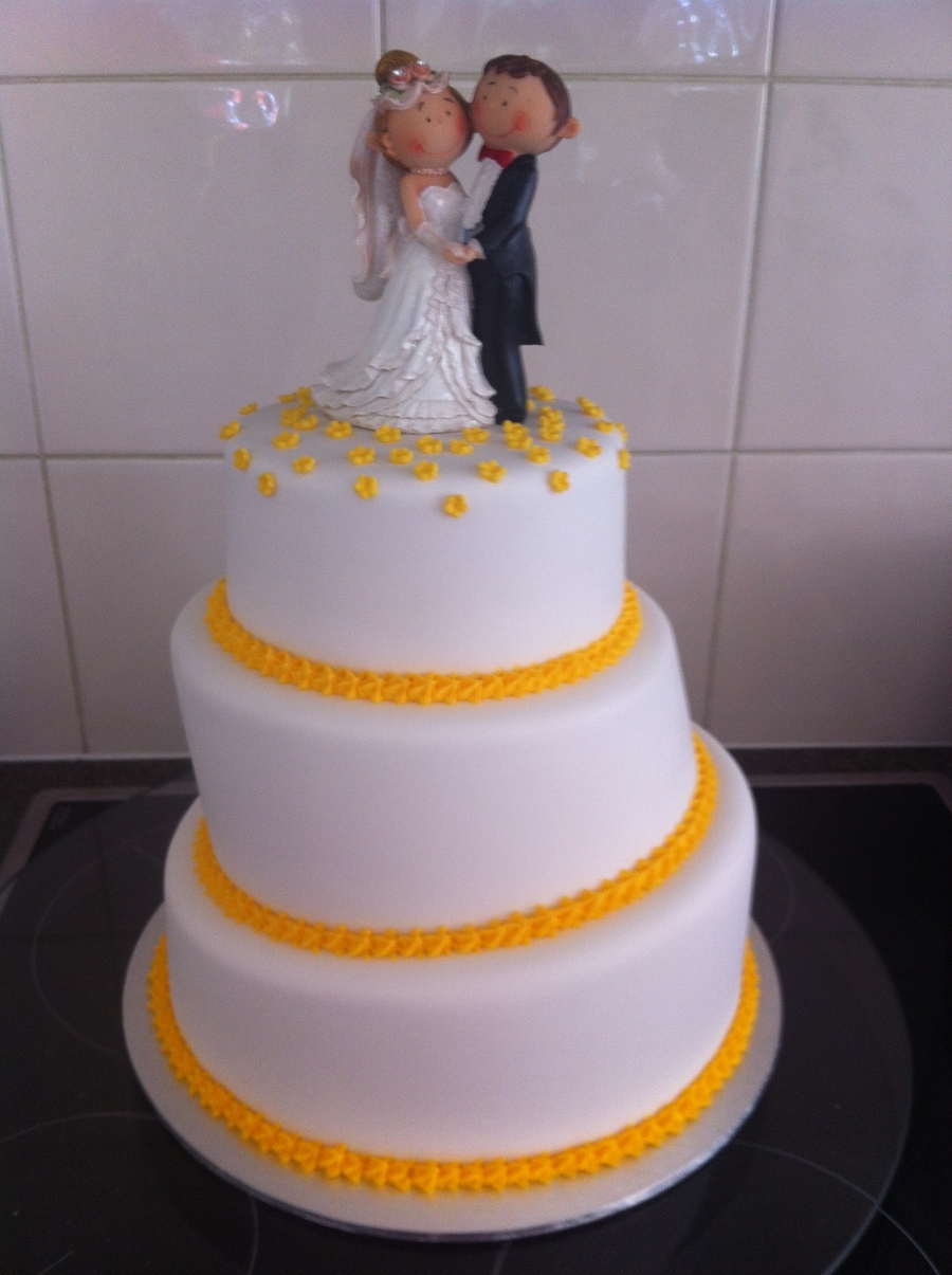 Yellow Wedding Cake  on Cake Central
