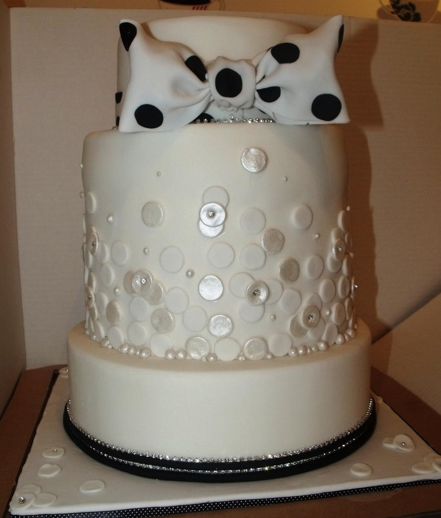 Spotty Bow Wedding Cake  on Cake Central