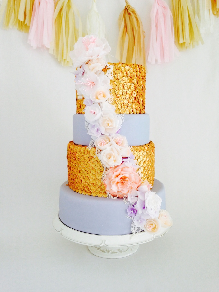 Sequinned Wedding Cake With Wafer Paper Flowers. on Cake Central