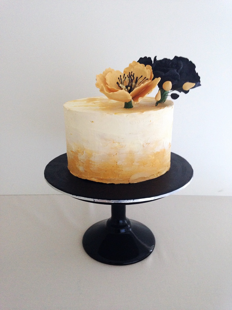 Black And Gold Themed Cake. on Cake Central