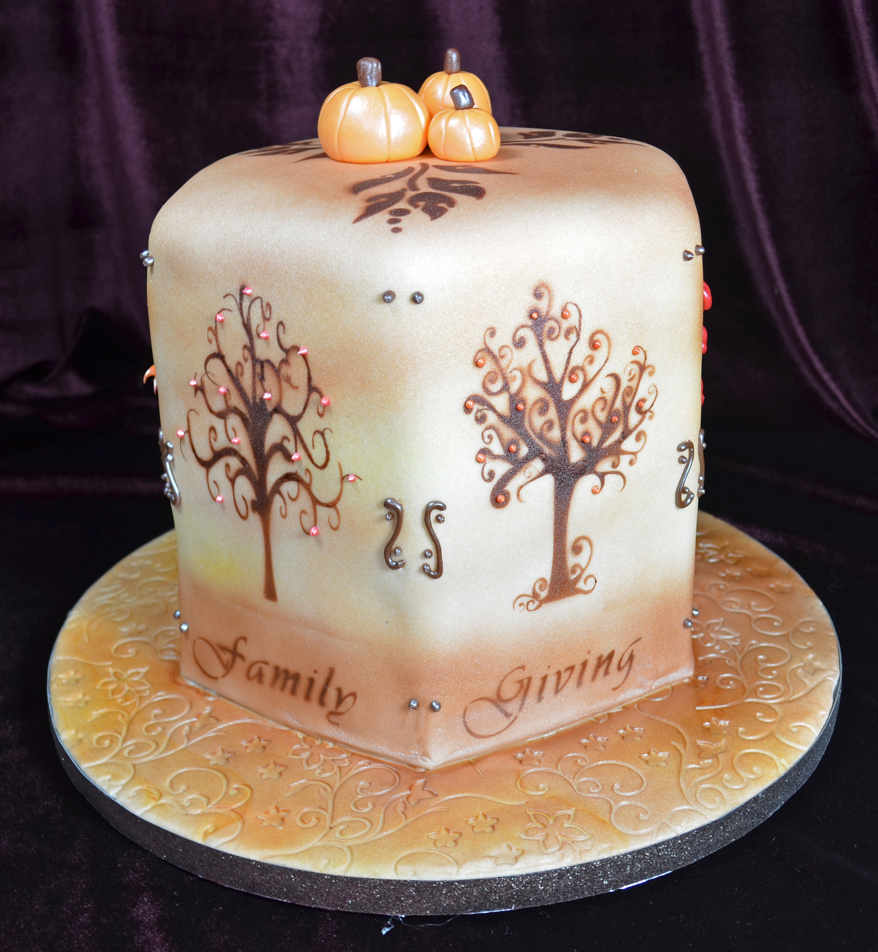 Thanksgiving Cake Airbrushed Trees With Custom Stencils