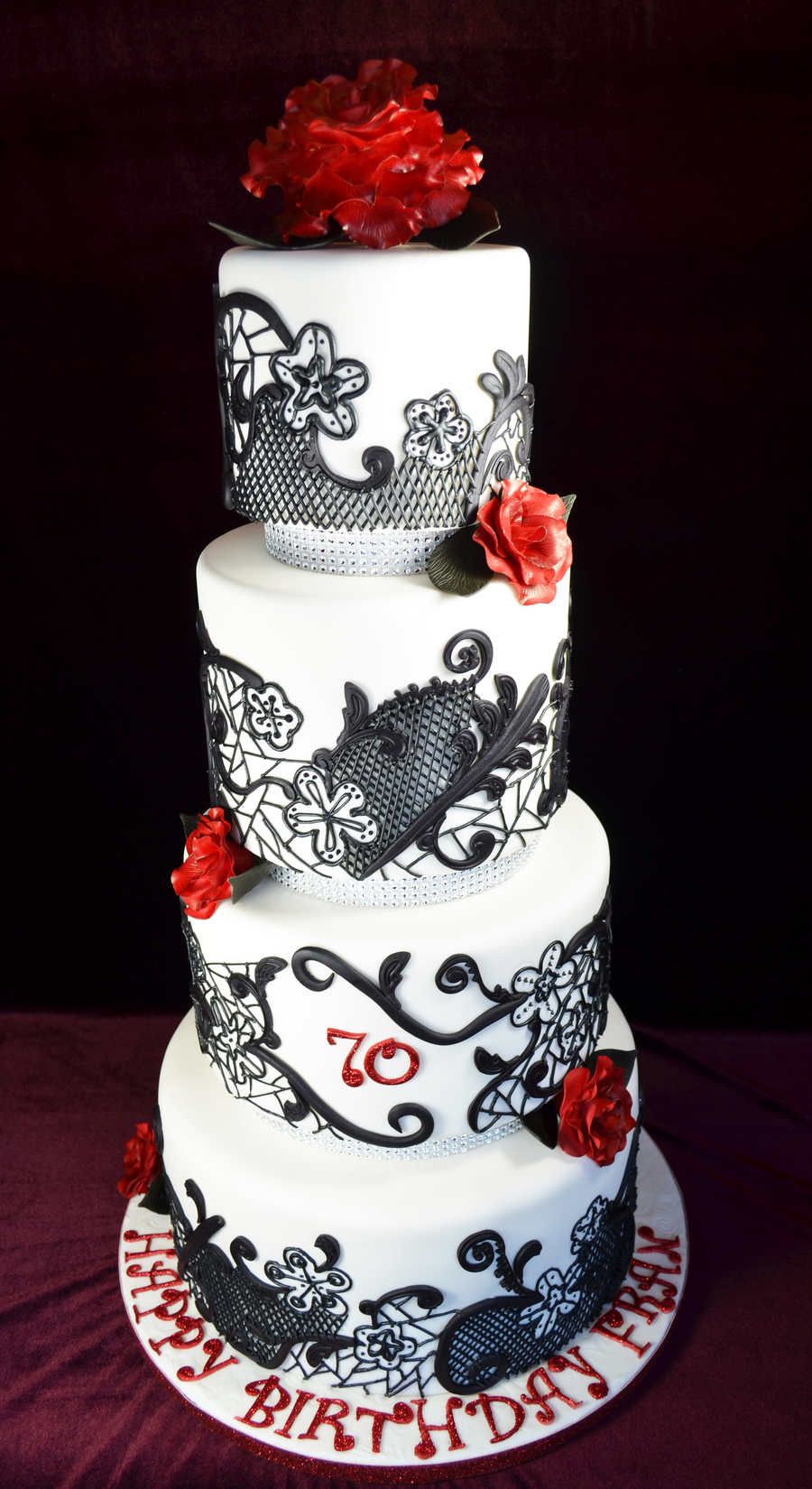 Black Royal Icing Lace With Deep Red Roses This Was A ...