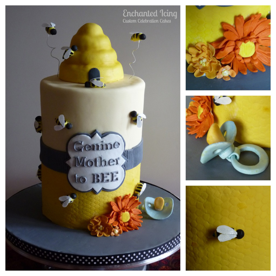 The Order Was For A Cake That Wasnt Too Babyish With A Mother To Bee Theme I Came Up With This Design Everything Is Edible Except The  on Cake Central