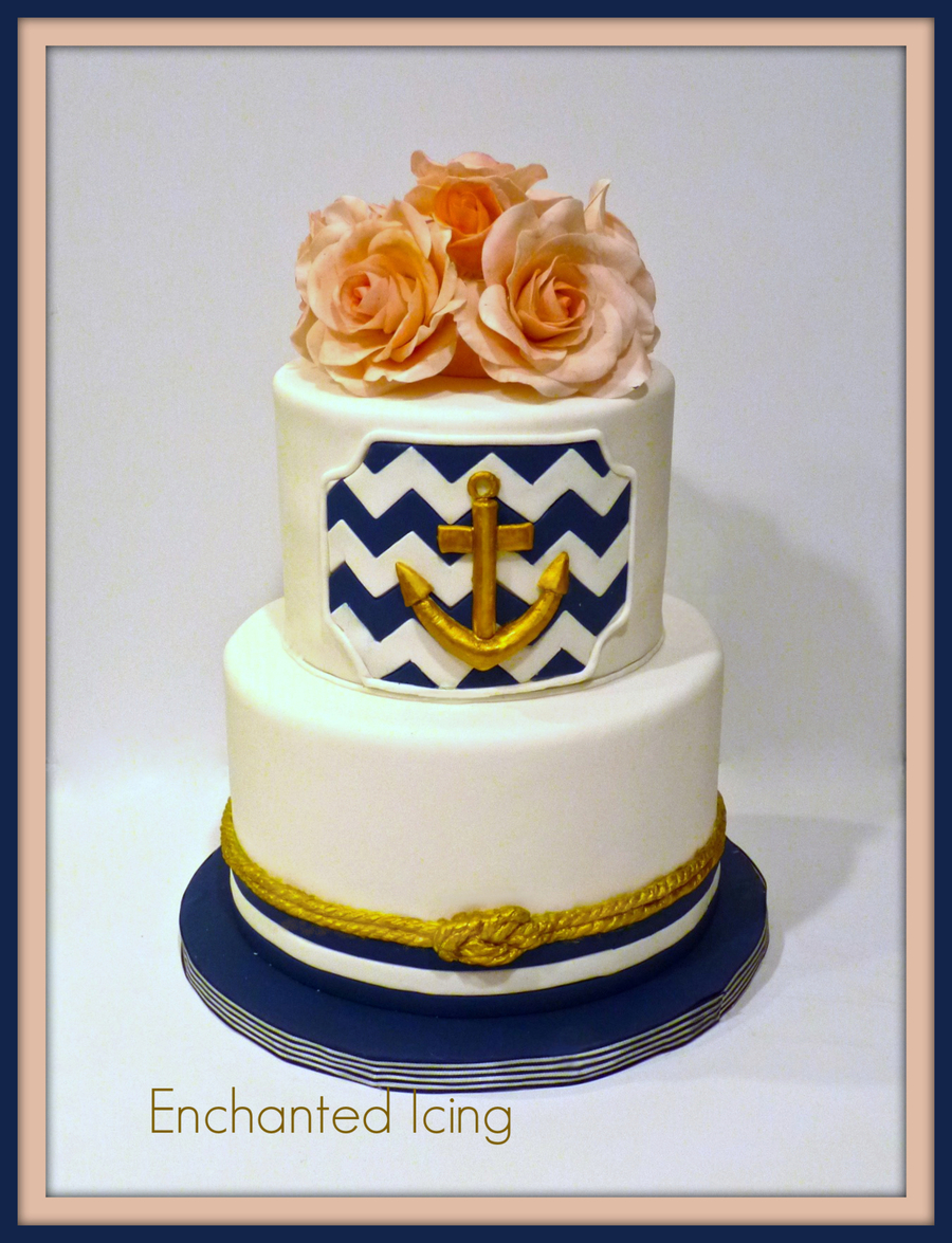 Nautical Themed Cake With Handmade Sugar Roses on Cake Central