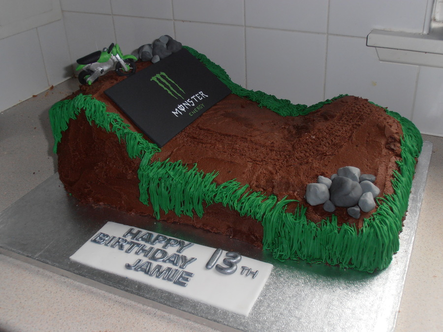 Cake Decorating Dirt Bike Track : Monster Motocross Cake - CakeCentral.com
