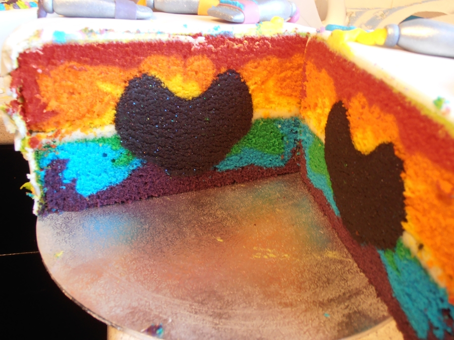 Rainbow Cake With Black Glitter Heart on Cake Central