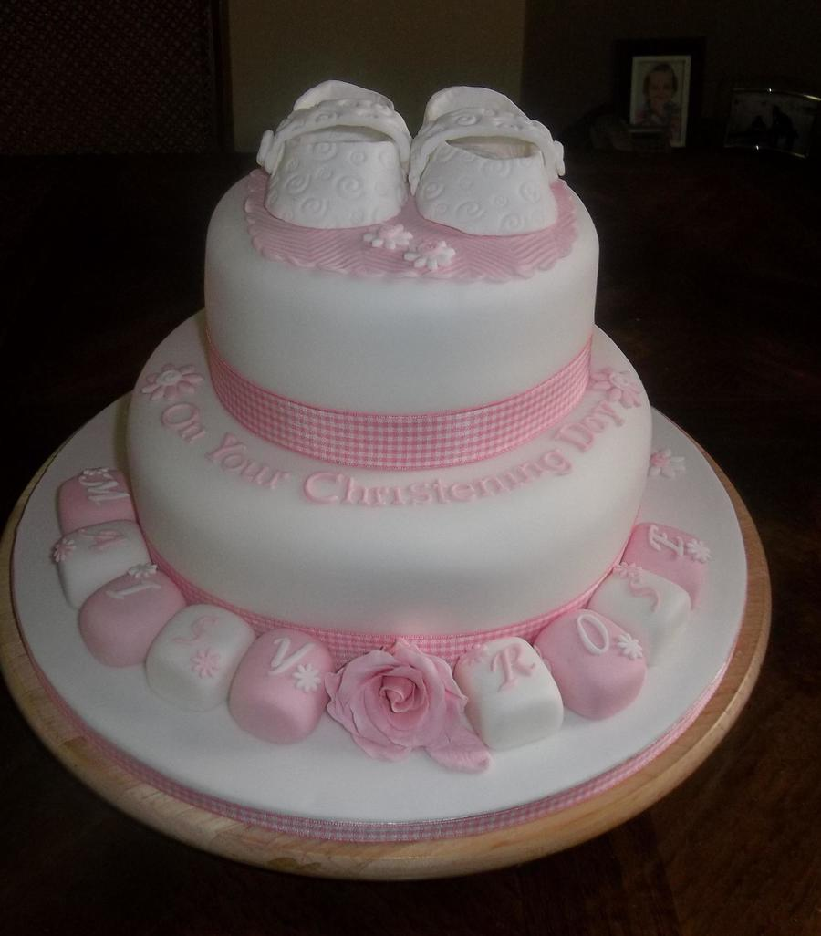 Little Girls Pink And White Christening Cake With Shoes Small Flowers And Rose Tfl Xsx on Cake Central