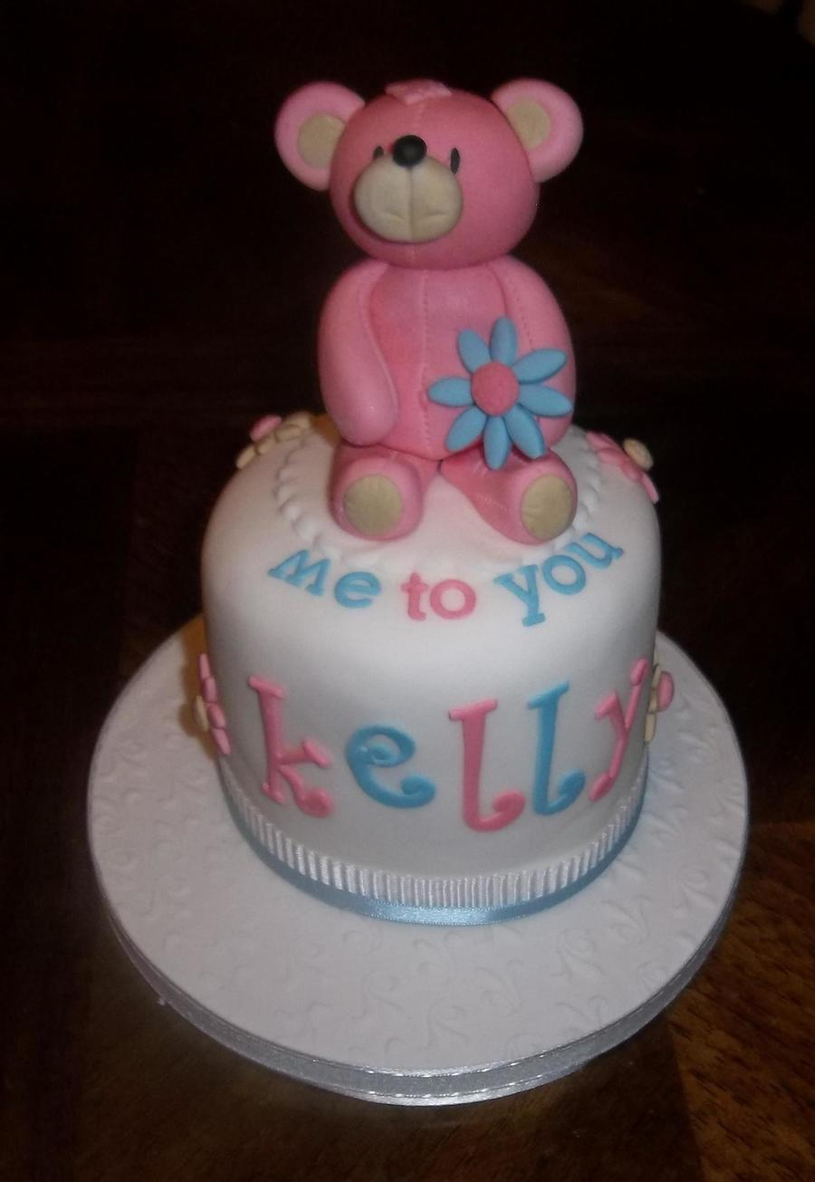 Mini 4 Inch Personal Cake With Teddy Bear Topper Xsx on Cake Central
