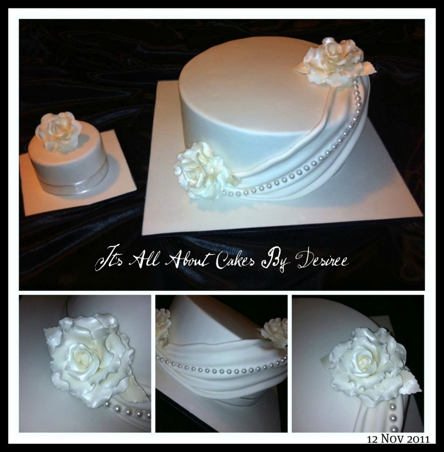 Elegant White Wedding Cake  on Cake Central