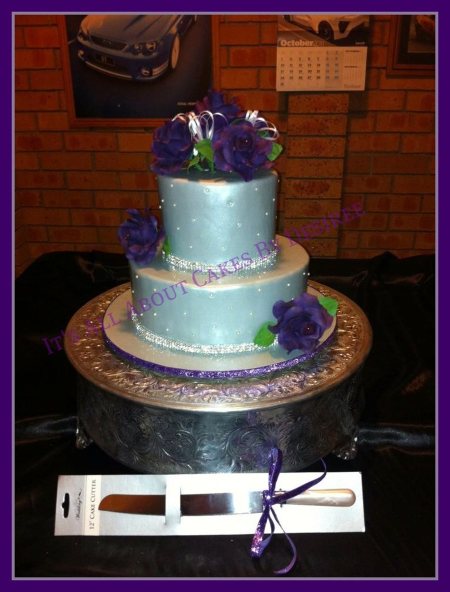 purple white and silver wedding cakes silver amp purple wedding cake cakecentral 18927