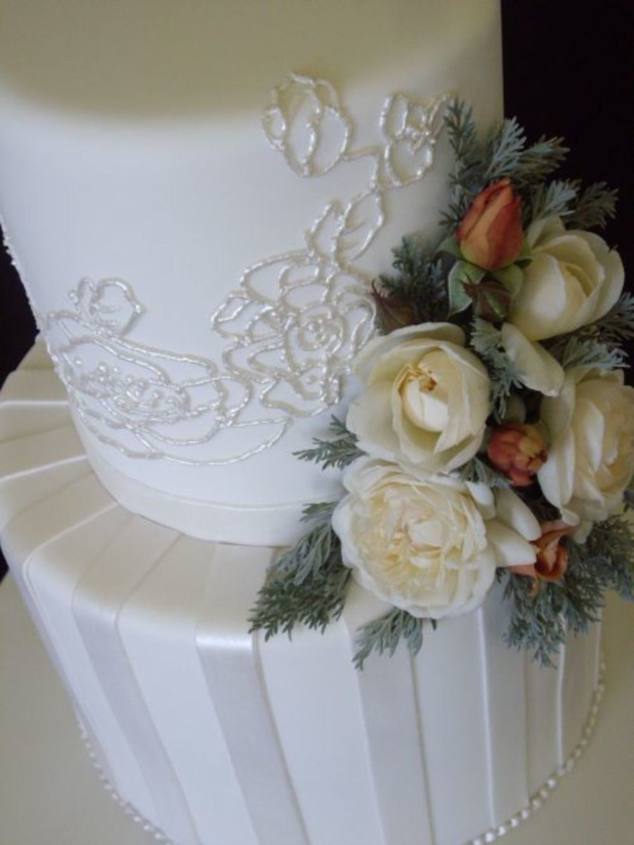 White Pearl Wedding on Cake Central